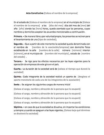 plantilla Acta Constitutiva descargar gratis